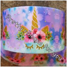 "Unicorns 3"" wide grosgrain ribbon 2 yards listing"