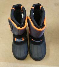 Kids Child snow boots velcro orange black