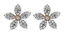 Orecchini a Clip-fiore placcato oro con cristalli-Haley da BELLO London