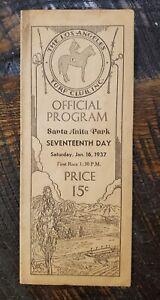 1937 Santa Anita Horse Racing Program - SEABISCUIT, SINGING WOOD, INDIAN BROOM