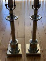 Vintage Pair Mid-Century ART DECO Metal Table Desk Lamps Folder 19-25 Inches