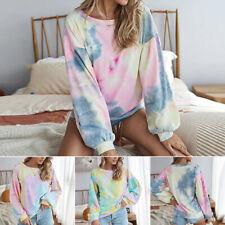Women Long Sleeve Gradient Tie Dye Pullover T Shirt Loose Hoodie Tops Sweatshirt