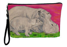 Hippo Pouch Wristlet with detachable strap - From my orginal Painting