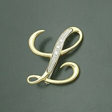 18ct 750 Yellow and White Gold Initial 'L' Brooch set with Cubic Zirconias