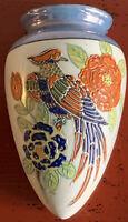 Vintage Bird and Floral Lustreware Wall Pocket Vase Hand-painted in Japan