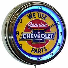 "16"" We Use Genuine Chevrolet Parts Sign Blue Double Neon Clock Chevy"
