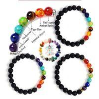 Handmade 7Chakra Healing Bracelet Lava Volcanic Stones Mala Meditation Beads