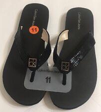 NEW CALVIN KLEIN Sz 11 Sarianna Flip flop Women's  Sandals Black CK silver logo