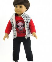 "3 Pc Skull Vest Outfit - Fits American Girl Boy Doll Logan - 18 "" Dolls"