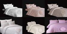 5 tlg Bettwäsche Bettgarnitur Mako-Satin Baumwolle mit Muster 200x200  200x220cm