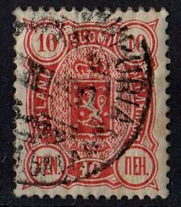 FINLAND 1890 Coat of Arms 1889 - Trilingual Issue /Mi: FI 29Ab/ 10p STAMP