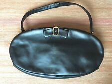 vintage handbag 60s By Dorian black calfskin with brass hardware bow clasp
