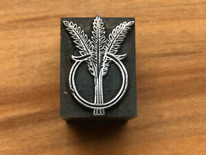 Antique all metal PRINTERS BLOCK - Bundle of Wheat within a ring
