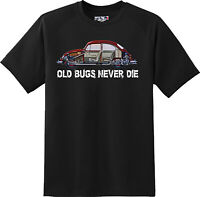 Old Bugs Never Dies Volkswagen Bug Car Gift T Shirt New Graphic Tee