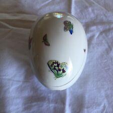 Neiman Marcus Limoges Porcelain Trinket Box Egg Shape, Butterflies, Large