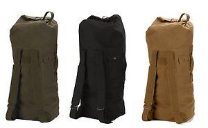 G.I. Type Canvas Double Strap Duffle Bag - Sports Bag - Gym Bag-Black, OD, Brown