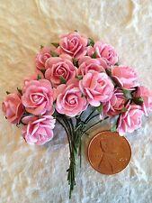 "15 Pink 1/2"" Mulberry Paper Roses Handmade Rose Valentines Weddings Anniversary"