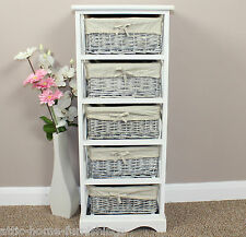 Shabby Chic Painted Storage Chest Wicker Basket Storage Painted Furniture