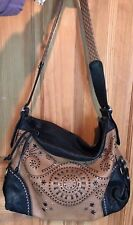 BRIGHTON MONTREAL Silver STUDDED LG. Hand-Stitched HIPPIE Peace Out SHOULDER BAG