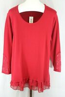 Style & Co Plus Womens Ladies Red Lace Panel Long Sleeve Tunic Top Sz 2X NEW