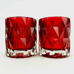 Yankee Candle Red Fractal Votive Holder Tea Light Holders Set of 2 Thick Glass