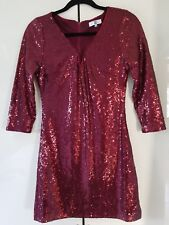Evening sparkly sequin  party special occasion red mini dress size 12 EU 40