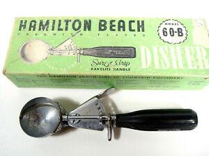 Vintage Hamilton Beach Ice Cream Scoop Disher Model 60-B Bakelite Handle In Box