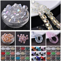 6/8/10/14mm Glass Czech Crystal Cube Square Faceted Loose Spacer Beads Findings