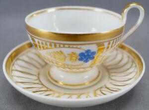 Old Paris Porcelain Hand Painted Blue Floral & Gold Empire Tea Cup C. 1830-50 A