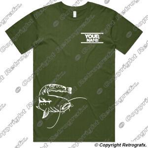 Personalised Catfish Angling Fishing T-shirt carp perch pike Birthday Gift F