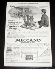 1925 OLD MAGAZINE PRINT AD, MECCANO, IMAGINE FUN OF BUILDING A PONTOON CRANE!