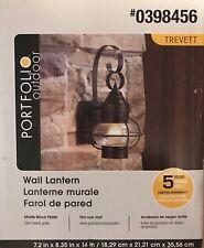 Outdoor Wall Light 14-In Matte Black Steel Lantern Portfolio Trevette