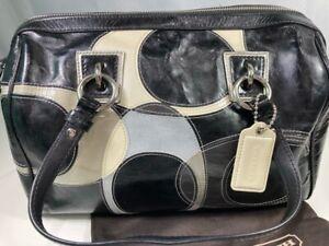 Coach Satchel Handbag Purse Black Patchwork Signature Logo Patent Leather Bag