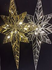 47cm Christmas Decoration - Glitter Wall Hanging Star with 10 LED Lights