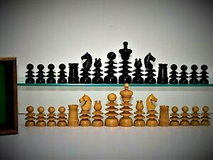 """Rare, large antique/vintage French 'St George' Chess Set (K =92mm/3.6"""") + box."""
