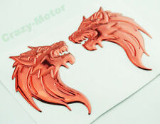 Red 3D Wolf Fuel Gas Tank Side Fairing Badge Emblem Decal Sticker Motorcycle DIY