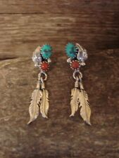 Navajo Sterling Silver Turquoise Coral Feather Post Earrings! Spencer