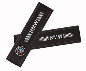 BMW Alpina Car Seat Belt Shoulder Pads Covers Embroidery Logo, 2 Pcs, Alcantara