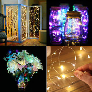 20/40/60LED Small Micro LED Fairy Lights Copper Wire Button Battery Wedding Xmas