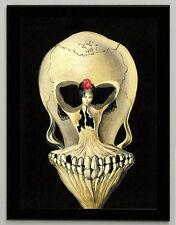 "Salvador Dali ""Ballerina and skull"" canvas print, framed, giclee 8.3X11.7 poster"