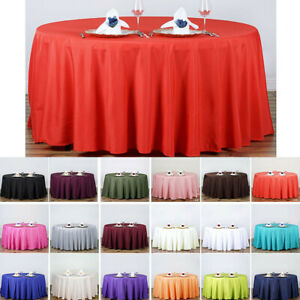 145cm Tablecloth Round Satin Party Wedding Birthday Table Cover Cloth Solid New