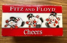 Fitz and Floyd Christmas Cheers Snowman Nib Figurines