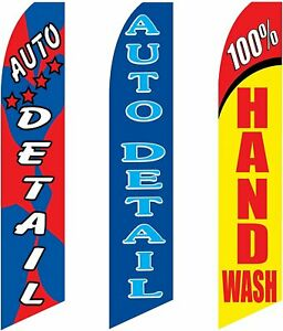 3 Swooper Flags Welcome Auto Detail Shop Hand Wash Car Wash