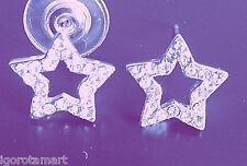 Pair Iced Crystal Star Ear Stud Earrings Body Jewelry