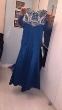 Women's blue strapless beaded formal dress/gown occasion size 8 evening