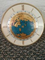 """Imhof World Time Desk Clock 4.6"""" Swiss 1965 15 Jewels Mid Century **AS IS**"""