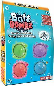 4 x Baff Bombz from Zimpli Kids, Green, Purple, Blue, Red, Create a fizzing bath