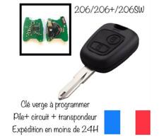 Clé Vierge + electronique + pile Complète Peugeot 206 206CC CC 206+  Testé