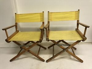 2 Vintage DIRECTOR CHAIR PAIR telescope Yellow canvas wood folding set wooden