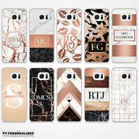 ROSE GOLD & MARBLE INITIALS NAME PERSONALISED HARD CASE COVER FOR SAMSUNG GALAXY